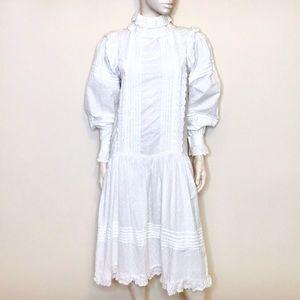 Vintage 80s white lace Victorian prairie dress